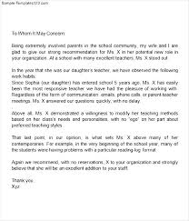 parent letter of recommendation best template collection