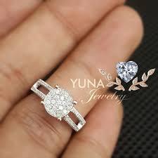 cincin emas putih yuna cincin pavé cincin berlian eropa bersertifikat emas putih