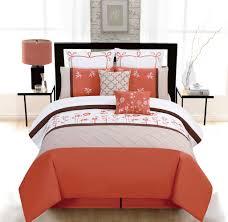 noble orange colour embroidered design duvet quilt cover set
