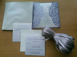 black and ivory wedding invitations romantic lavender laser cut wedding invitations with grey ribbon