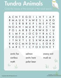 habitats word search tundra animals worksheet education com