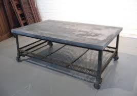 industrial coffee table with wheels galvanized merchantile metal coffee table