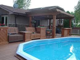 Backyard Above Ground Pool Ideas Above Ground Pool Decks Deck Traditional With Bois Traite Cedar