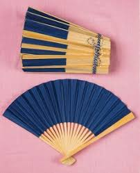 held paper fans japanese fan marine blue silver vintage by vintagefromjapan