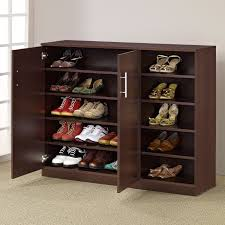 entryway shoe storage cabinet furniture brown walnut double door shoes storage cabinet with 5