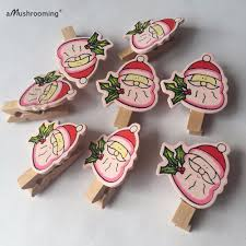 12x christmas wooden pegs clips clothpins xmas tree card holder