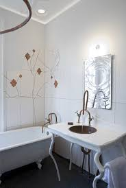bright bathroom design idea with awesome white wall painted plus