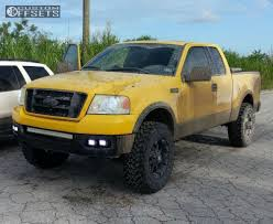 Ford F 150 Yellow Truck - wheel offset 2004 ford f 150 aggressive 1 outside fender leveling