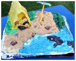 a camping beach side birthday cake mum on the brink