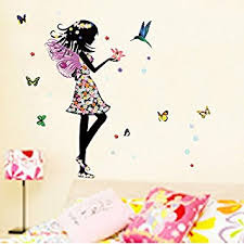 Home Decoration Wall Stickers Amazon Com Alrens Diy Tm Angel Wings Beautiful Flowers