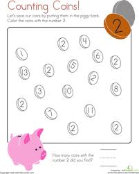 coloring 2 counting coins worksheet education com