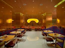 Opulent Luxury Restaurant Interior Design Gold Pattern Walls - Interior design ideas for restaurants