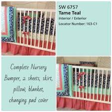 Navy And Coral Crib Bedding Coral Navy And Mint Floral Designer Crib Bedding With Ruffles