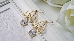 Chandelier Earrings Bridal Wedding Jewelry Matte Gold Chandelier Cubic Zirconia Earrings