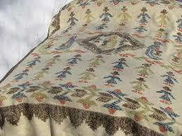 Primitive Upholstery Fabric Folk Art Naive Art Primitive People Vintage Hand Woven Wool