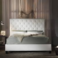 bedroom extra tall tufted headboard which surrounded by mirrors