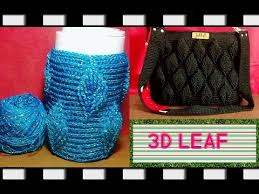 tutorial merajut alas tas crochet jar s cover 3d leaf youtube