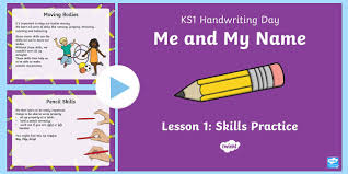 ks1 me and my name handwriting day lesson 1 skills practice