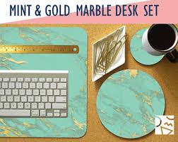 Teal Desk Accessories Marble Desk Set Etsy