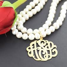 pearl monogram necklace personalized monogram and initial necklaces