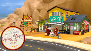 deco route 66 ohmysims404 auto shop and gas station set to oh my cc