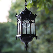 Patio Latern Outdoor Hanging Pendant Exterior Lantern Light Metal Scroll Wall
