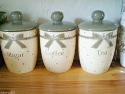 country kitchen bows set of 3 air tight tea coffee sugar jars