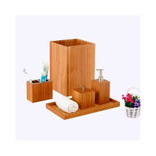 Wooden Bathroom Accessories Set by Spa Bamboo Bath Accessory Set