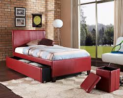 standard new york red upholstered trundle bed