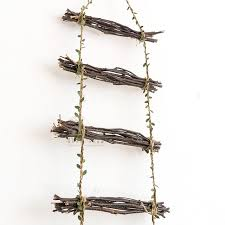 wood linen rattan branches decoration ladder home wall hanging