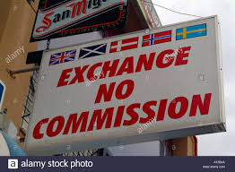bureau de change commission exchange no commission bureau de change stock photo royalty free