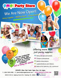 party rental stores grand opening flyer for omg party store graphic design
