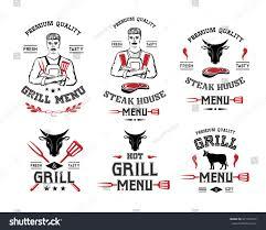 steak house grill menu labels badges stock vector 471327377
