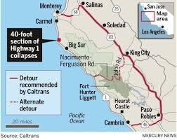 Map Of Cambria Ca Landslide Closes Picturesque Highway 1 U2013 The Mercury News