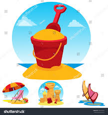 Beach Chair Umbrella Set Toy Bucket Beach Chair Umbrella Sand Stock Vector 429712744