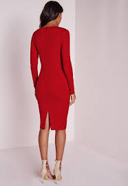 ponte long sleeve plunge midi dress red missguided