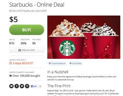 gift cards deals 5 for 10 starbucks gift card is deal for groupon