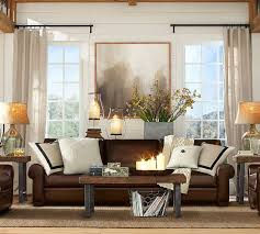 Living Room Brown Leather Sofa How To Visually Lighten Up Leather Furniture Dimples