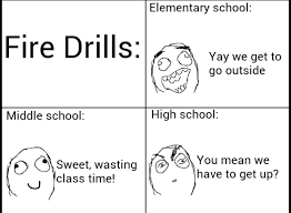 Fire Drill Meme - i love and hate fire drills meme by derpoholic memedroid