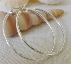 hammered hoops silver hammered hoop earrings by reeves jewellery