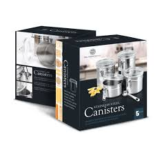 kitchen canister sets stainless steel 4 pc stainless steel canister set w clear latching lids