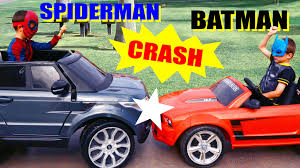 batman car toy batman vs spiderman crash power wheels mustang toy and feber range