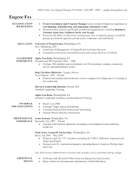 Resume Samples Non Profit Jobs by Wedding Planner Resume Sample Resume For Your Job Application