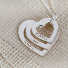 personalised necklaces silver personalised hearts pendant necklace