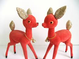 Red Glitter Christmas Decorations by Flocked Christmas Deer Figurines Large Red Deer Gold Glitter