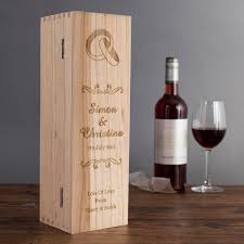 Wooden Wedding Gifts Personalised Wooden Wine Box Wedding Rings Gettingpersonal Co Uk