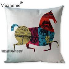 home decor pillows british art cotton linen pillowcase retro chinese horse cushions