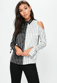 cold shoulder tops black monochrome stripe cold shoulder shirt missguided