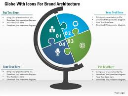 business diagram globe with icons for brand architecture