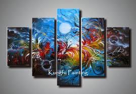 5 piece canvas wall art hand painted palette knife oil wall art decor sle painted wall art multi panel amazing orange